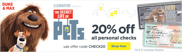 The Secret Life of Pets - 20% Off All Personal Checks
