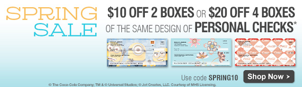$10 off 2 boxes OR $20 off 4 boxes of the same design Personal Checks