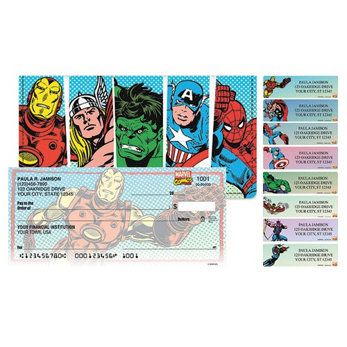 Package Deal - Marvel Heroes Checks, Cover, Address Labels
