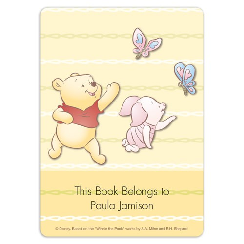 Baby winnie the pooh friends book plate labels