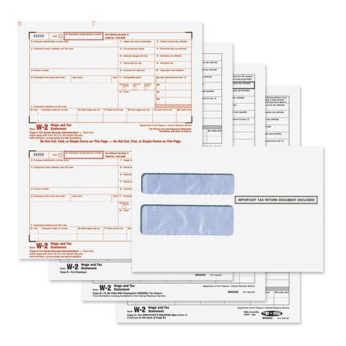 W-2 Tax Forms 4-Part With Envelopes