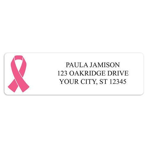 Pink Ribbon on White Background Awareness Sheet Labels