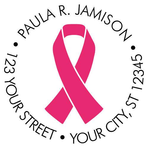Pink Ribbon Pre-Inked Address Stamp