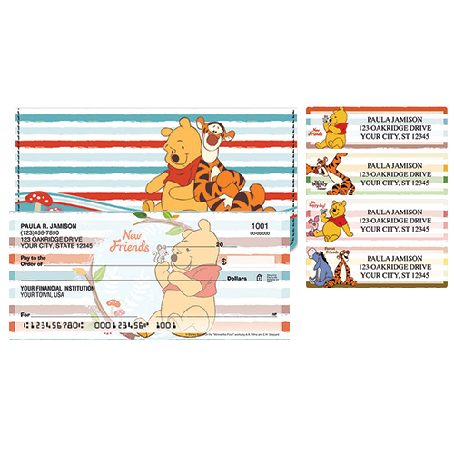 Winnie the Pooh Woodland Folks Leather Checkbook Cover