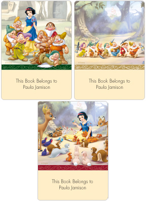 Snow White & The Seven Dwarfs Book Plate Labels
