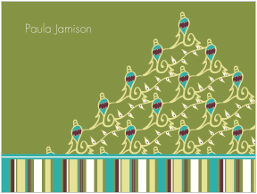 Ornaments & Stripes Folded Notes