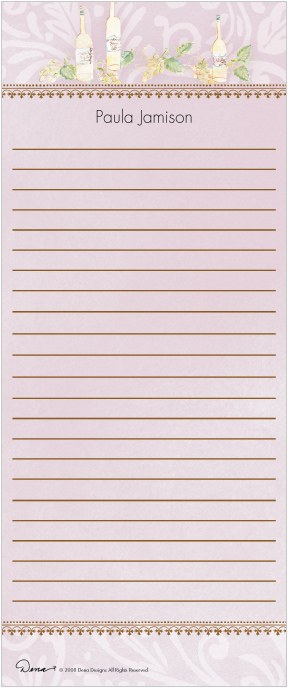 White Wine Long Note Pad