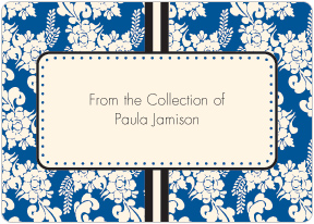 Blue Floral Book Plate Labels
