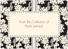 Black Floral Book Plate Labels