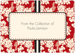 Red Floral Book Plate Labels