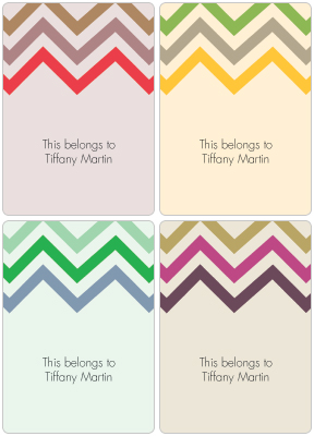 Chevron Book Plate Labels