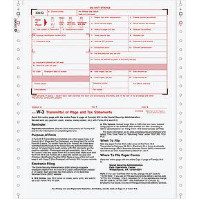 W-3 Continuous Transmittal of Income, 2-Part, 1-Wide