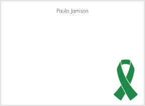 Green Ribbon Awareness Flat Cards