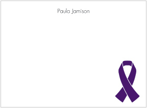 Purple Ribbon Awareness Flat Cards