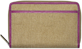Pink Jute Zippered Wallet