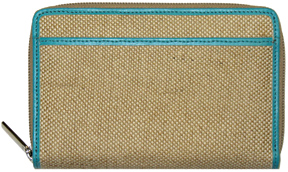 Teal Jute Zippered Wallet