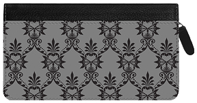 Soho Black Damask Zippered Leather Cover