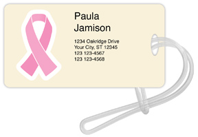 Pink Ribbon Luggage Tag - Rectangle