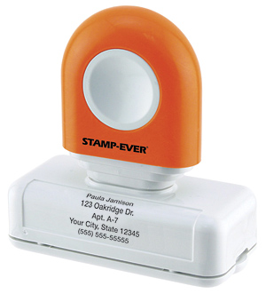 Orange Handle 5-line Pre-Inked Stamp
