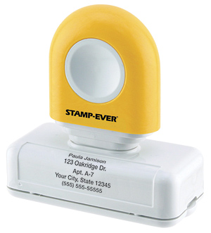 Yellow Handle 5-line Pre-Inked Stamp