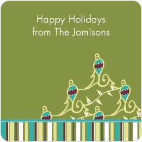 Ornaments & Stripes Gift Labels