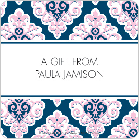 Preppy Sweet Damask Gift Labels