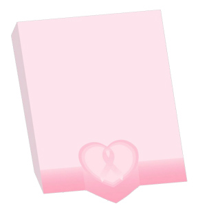 Pink Ribbon Rectangle Heart Self-Stick Notes