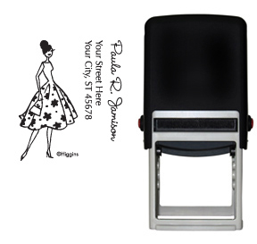 Fashion Floral Girl Stamp