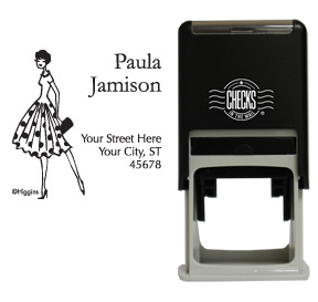 Fashion Polka Dot Girl Stamp