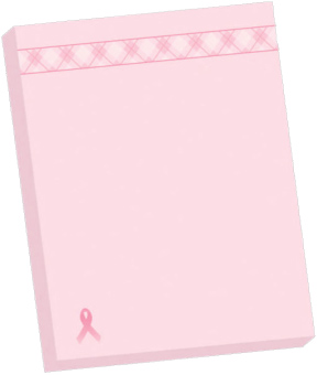 Pink Ribbon Rectangle Self-Stick Notes