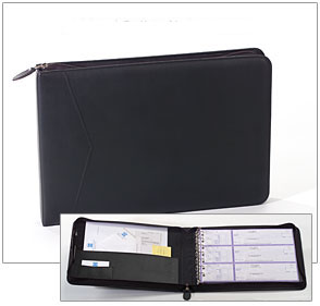 Leather Zippered Business Binder