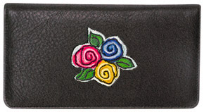 Whimsy Embroidered Black Leather Cover
