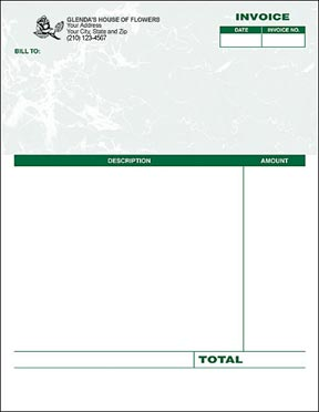 Laser Invoice - Green Marble